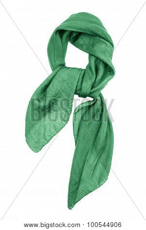 Silk Scarf. Green Silk Scarf Isolated On White Background