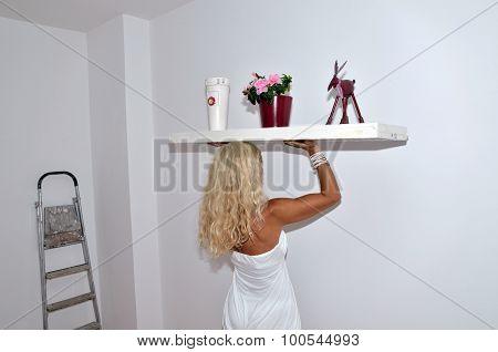 Lady Holding Shelf