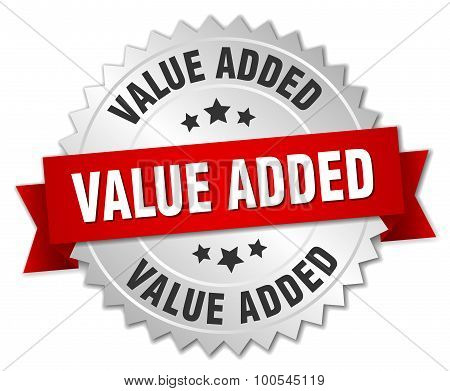 Value Added 3D Silver Badge With Red Ribbon