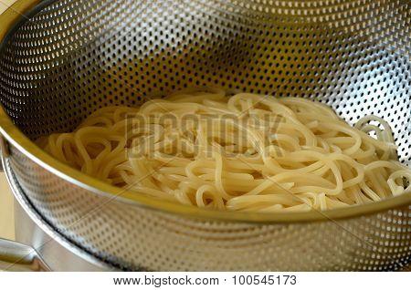 Spaghetti in colander. Italian traditional cuisine.