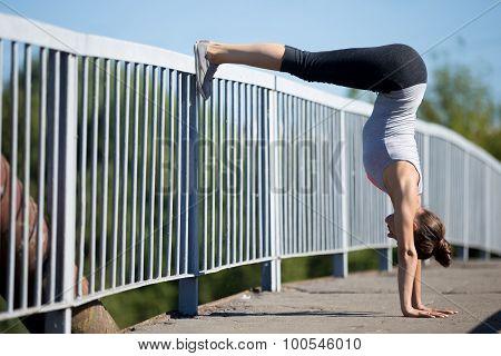 Street Yoga: Downward Facing Tree Pose Variation