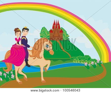 Prince And Princes Riding On Horse