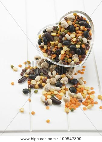 various type of beans on the white background