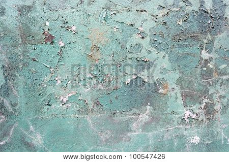 Green Concrete Cracked Painted Wall, Damaged Surface