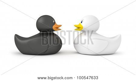An image of a black and a white duck