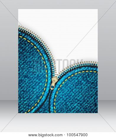 Flyer template with denim pattern and stitch effect. Vector illustration.
