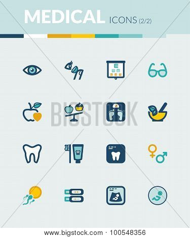Nutrition. Dental. Ophthalmology. Pregnancy. Healthcare Colorful Flat Icons