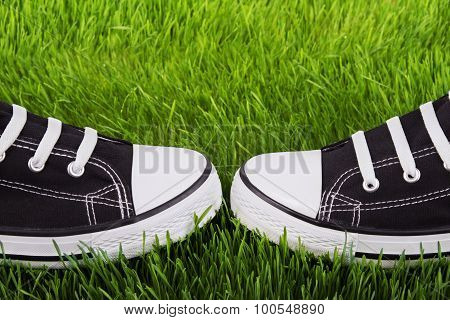 Youth Gym Shoes On A Green Grass