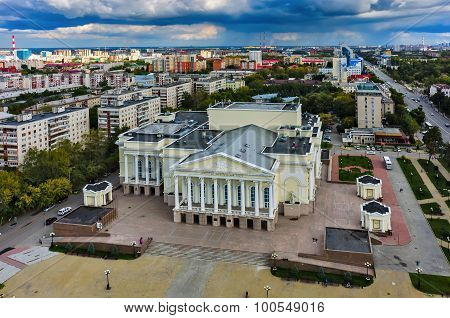 Bird eye view on city drama theater. Tyumen. Russia