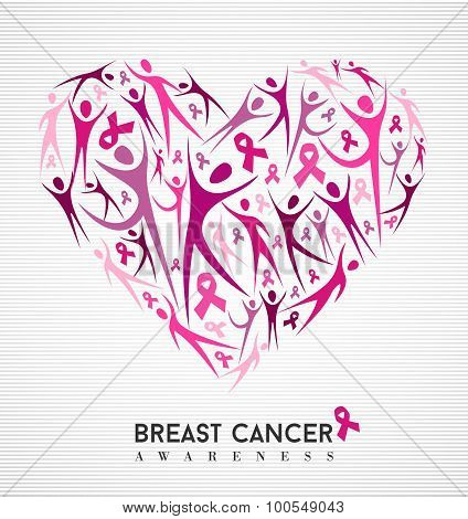 Breast cancer awareness pink ribbon women heart
