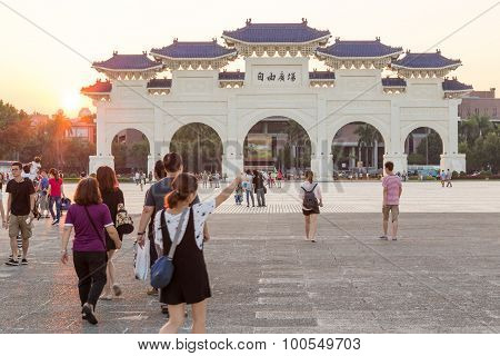 Liberty Square In Taipei With Dazhong Zhizheng Gates At Sunset