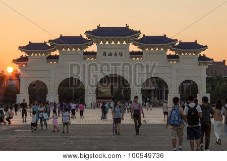 Liberty Square In Taipei With Dazhong Zhizheng Gates At Sunset