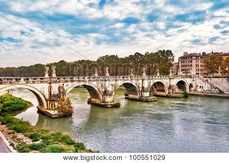 Bridge Ponte Sant Angelo In Rome Across River Tiber