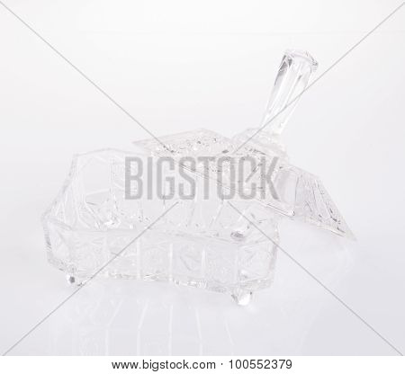 Crystal Glass Bowl On A Background.