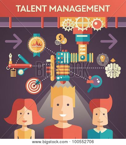 Conceptual flat design illustration of business talent managemen