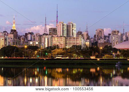 The beautiful city of Sao Paulo at night in Brazil