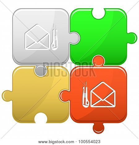 open mail with knife. Vector puzzle.