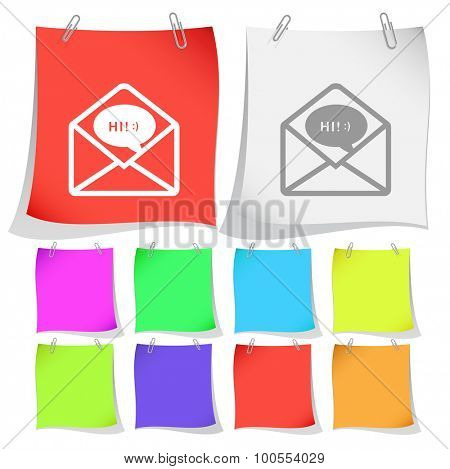 open mail with chat. Vector note papers.