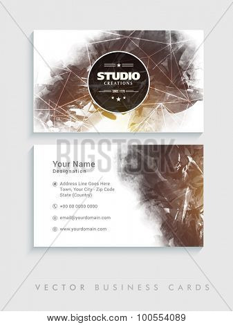 Professional horizontal business card or visiting card set with brown color splash.