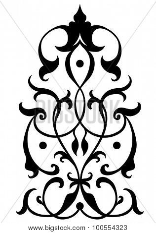 stylish swirl foliage design; line art illustration