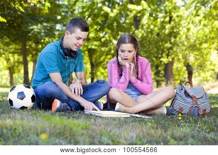 Smart kids studying at the park