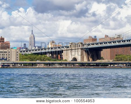 NEW YORK,USA - AUGUST 20,2015 : View of New York with the Manhattan Bridge and The Empire State Building