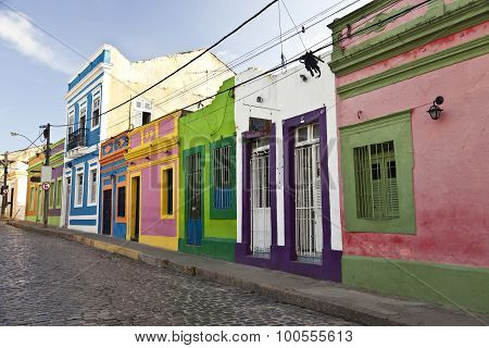 Cobbled street in historic Brazilian city Olinda