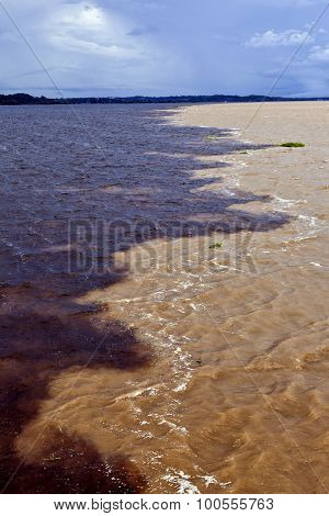 Meeting of the waters sandy colored Rio Solimoes and almost black Rio Negro near Manaus in Amazon