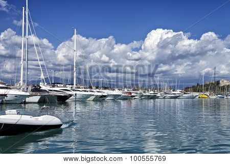 Luxury yachts and boats in a sea harbor