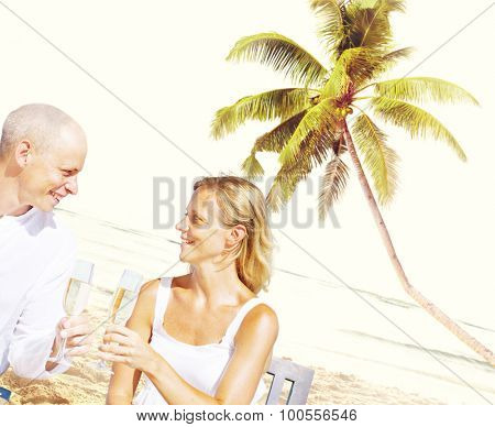 Couple Romance Beach Love Island Concept