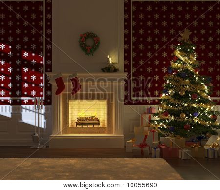 Cozy Decorated Xmas Fireplace Front View