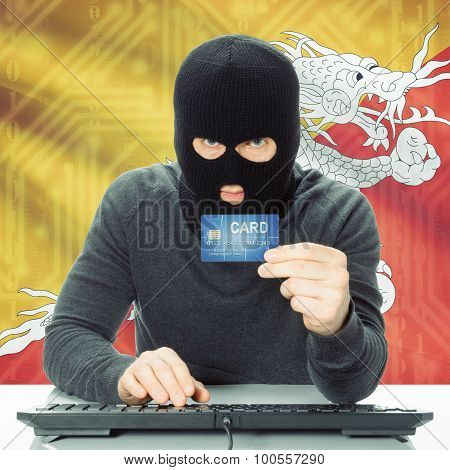 Concept Of Cybercrime With National Flag On Background - Bhutan