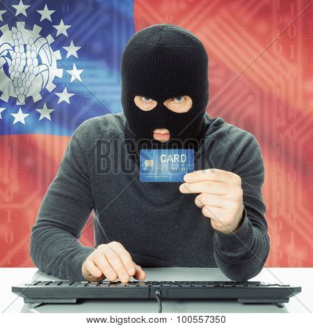 Concept Of Cybercrime With National Flag On Background - Burma