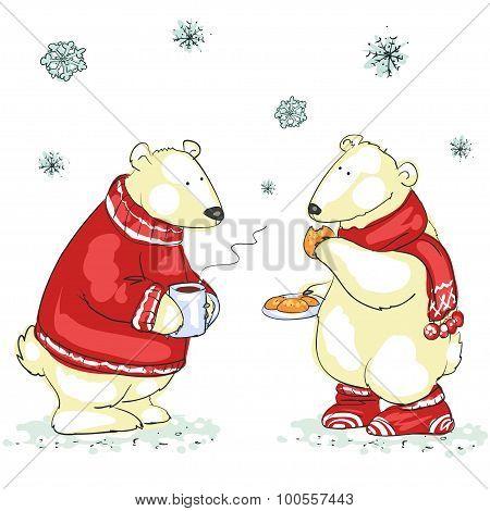 Funny polar bears