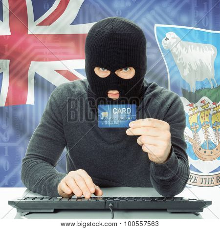 Concept Of Cybercrime With National Flag On Background - Falkland Islands