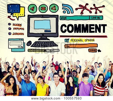 Comment Post Share Social Media Concept