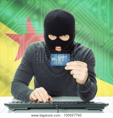 Concept Of Cybercrime With National Flag On Background - French Guiana