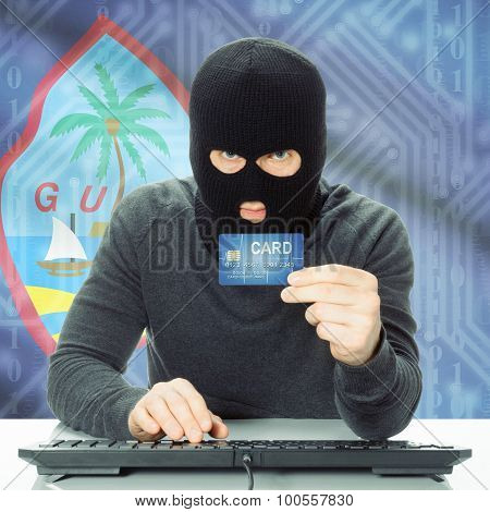Concept Of Cybercrime With National Flag On Background - Guam