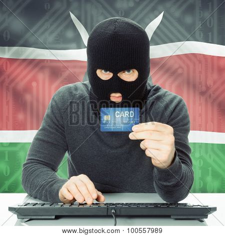 Concept Of Cybercrime With National Flag On Background - Kenya
