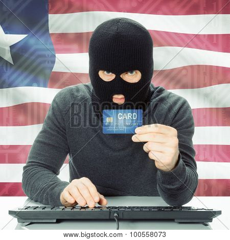 Concept Of Cybercrime With National Flag On Background - Liberia