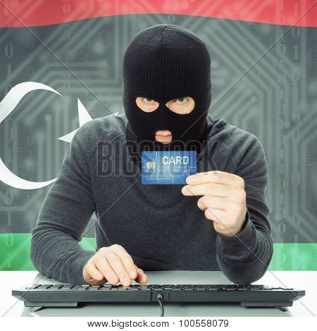 Concept Of Cybercrime With National Flag On Background - Libya