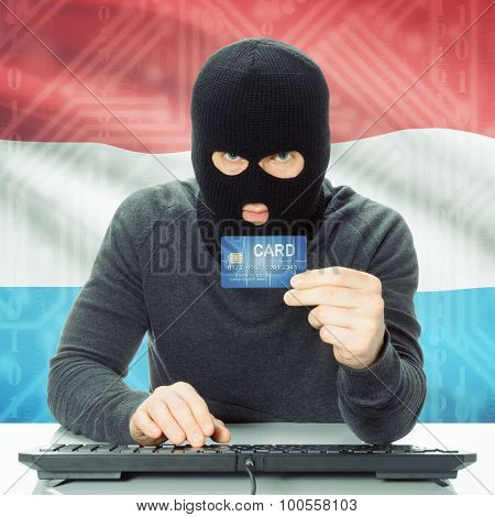 Concept Of Cybercrime With National Flag On Background - Luxembourg