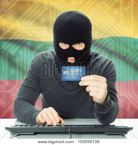 Concept Of Cybercrime With National Flag On Background - Lithuania