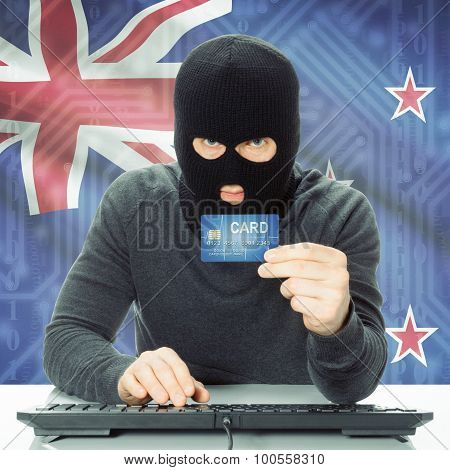 Concept Of Cybercrime With National Flag On Background - New Zealand