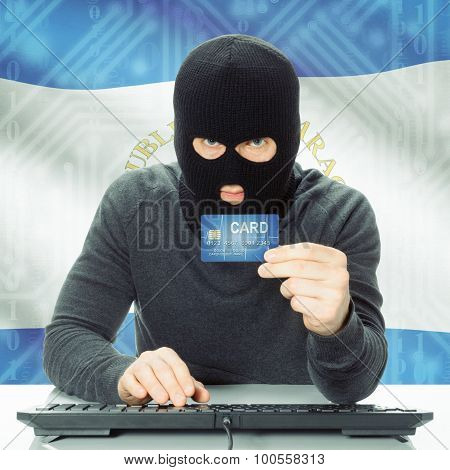 Concept Of Cybercrime With National Flag On Background - Nicaragua