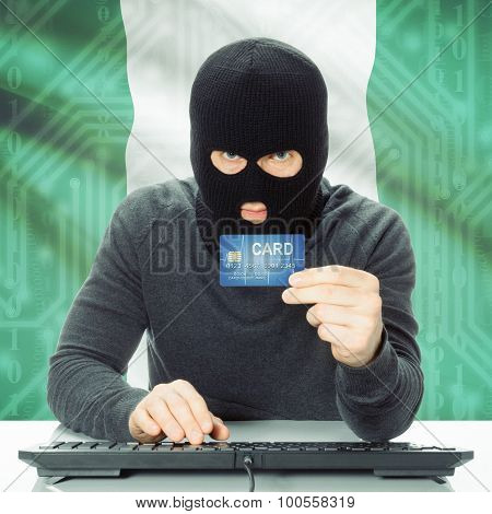 Concept Of Cybercrime With National Flag On Background - Nigeria