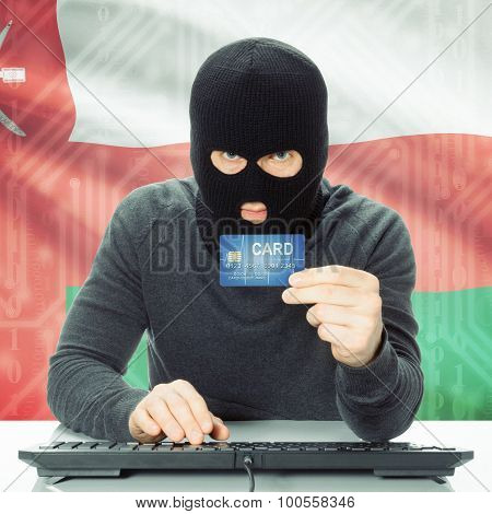Concept Of Cybercrime With National Flag On Background - Oman
