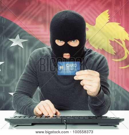 Concept Of Cybercrime With National Flag On Background - Papua New Guinea