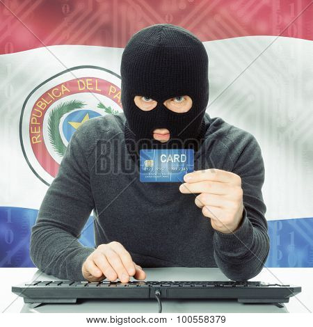 Concept Of Cybercrime With National Flag On Background - Paraguay