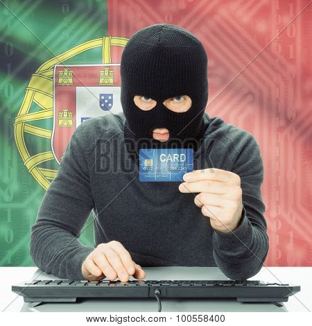 Concept Of Cybercrime With National Flag On Background - Portugal